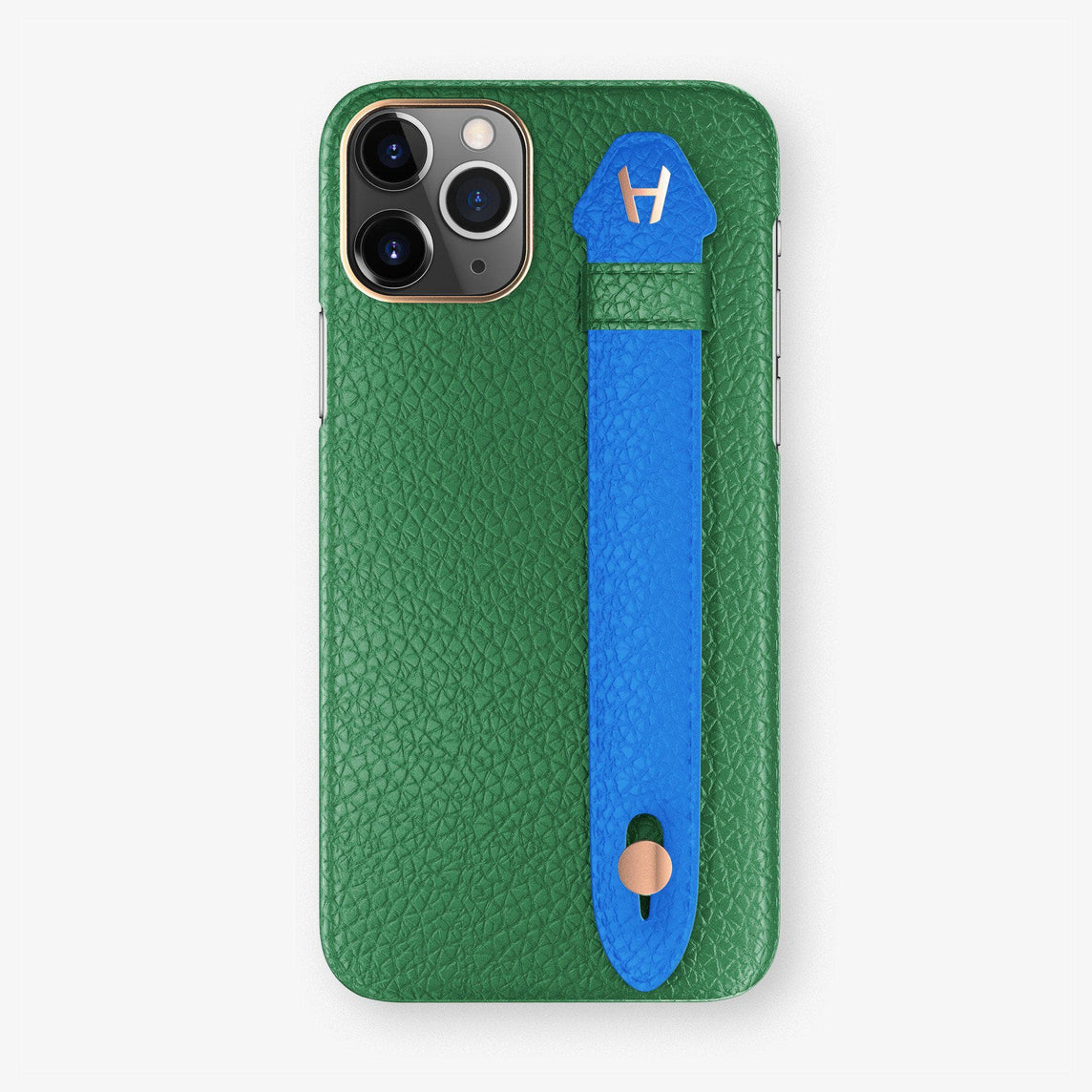 Calfskin Finger Case iPhone 11 Pro | Green/Blue Lagoon - Rose Gold