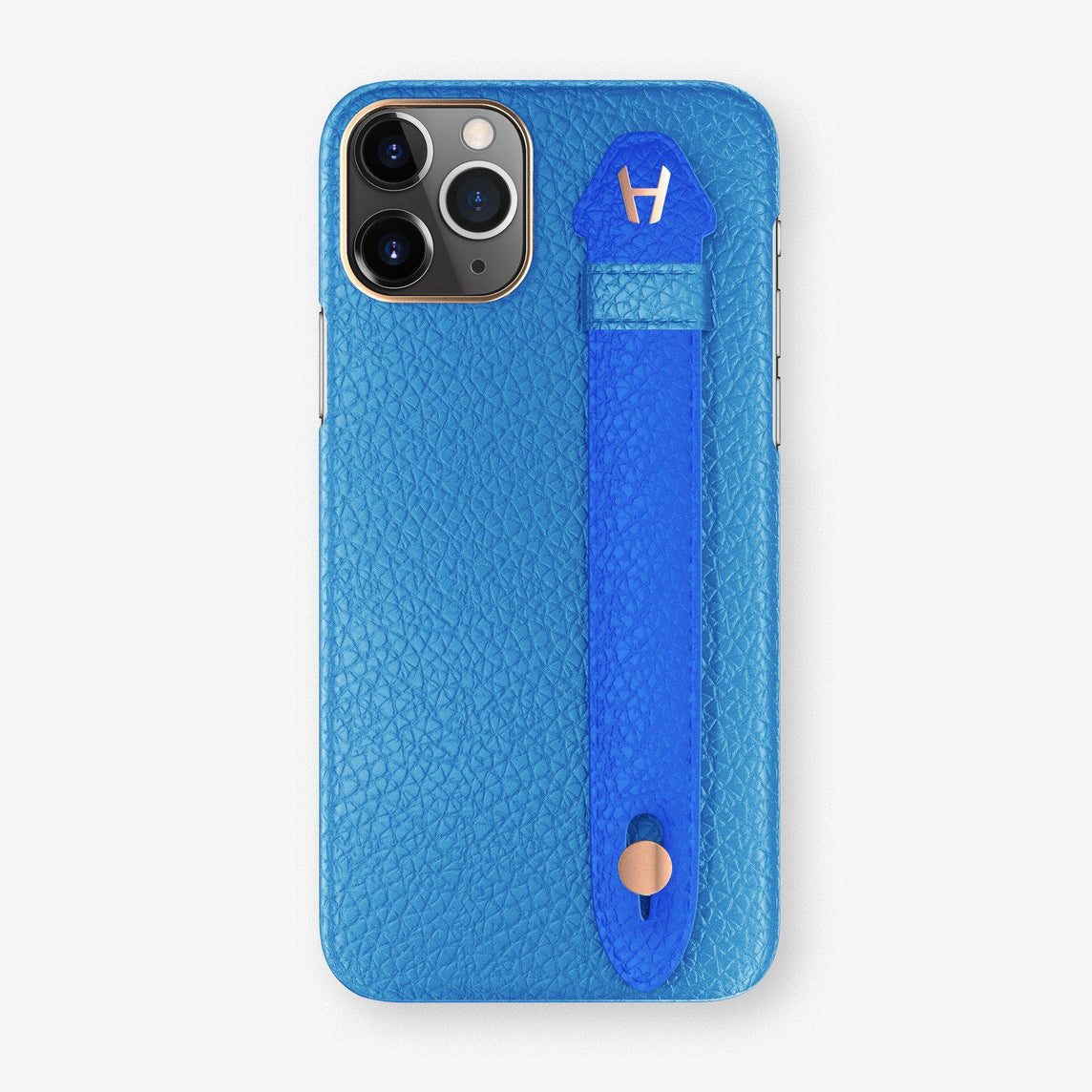 Calfskin Finger Case iPhone 11 Pro Max | Blue Lagoon/Peony Blue - Rose Gold