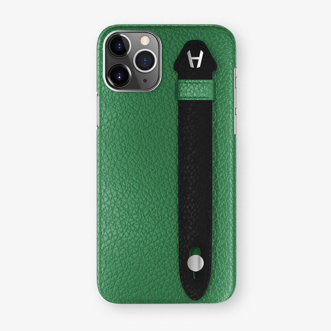 Calfskin Finger Case iPhone 11 | Green/Black - Stainless Steel
