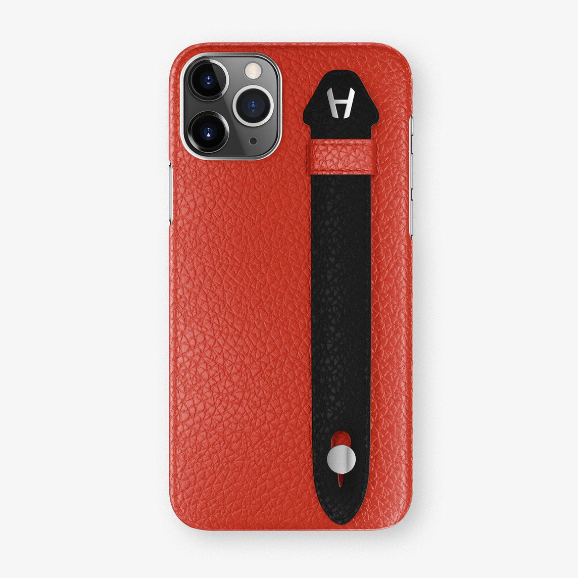 Calfskin Finger Case iPhone 11 Pro | Red/Black - Stainless Steel