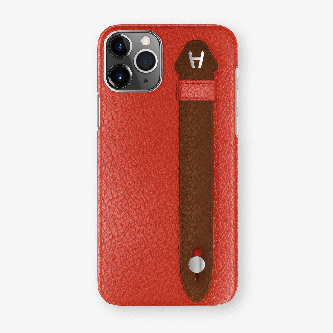 Calfskin Finger Case iPhone 11 | Red/Brown - Stainless Steel
