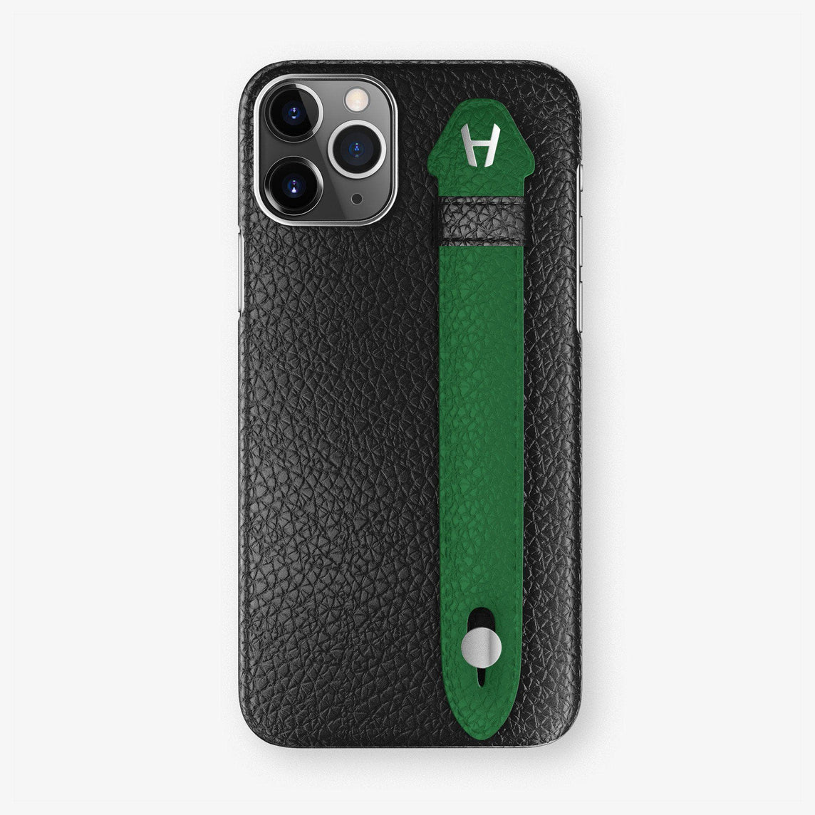 Calfskin Finger Case iPhone 11 Pro Max | Black/Green - Stainless Steel