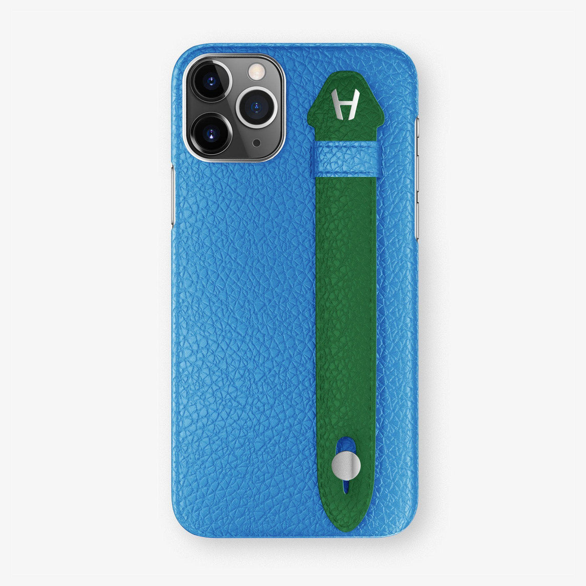 Calfskin Finger Case iPhone 11 Pro Max | Blue Lagoon/Green - Stainless Steel