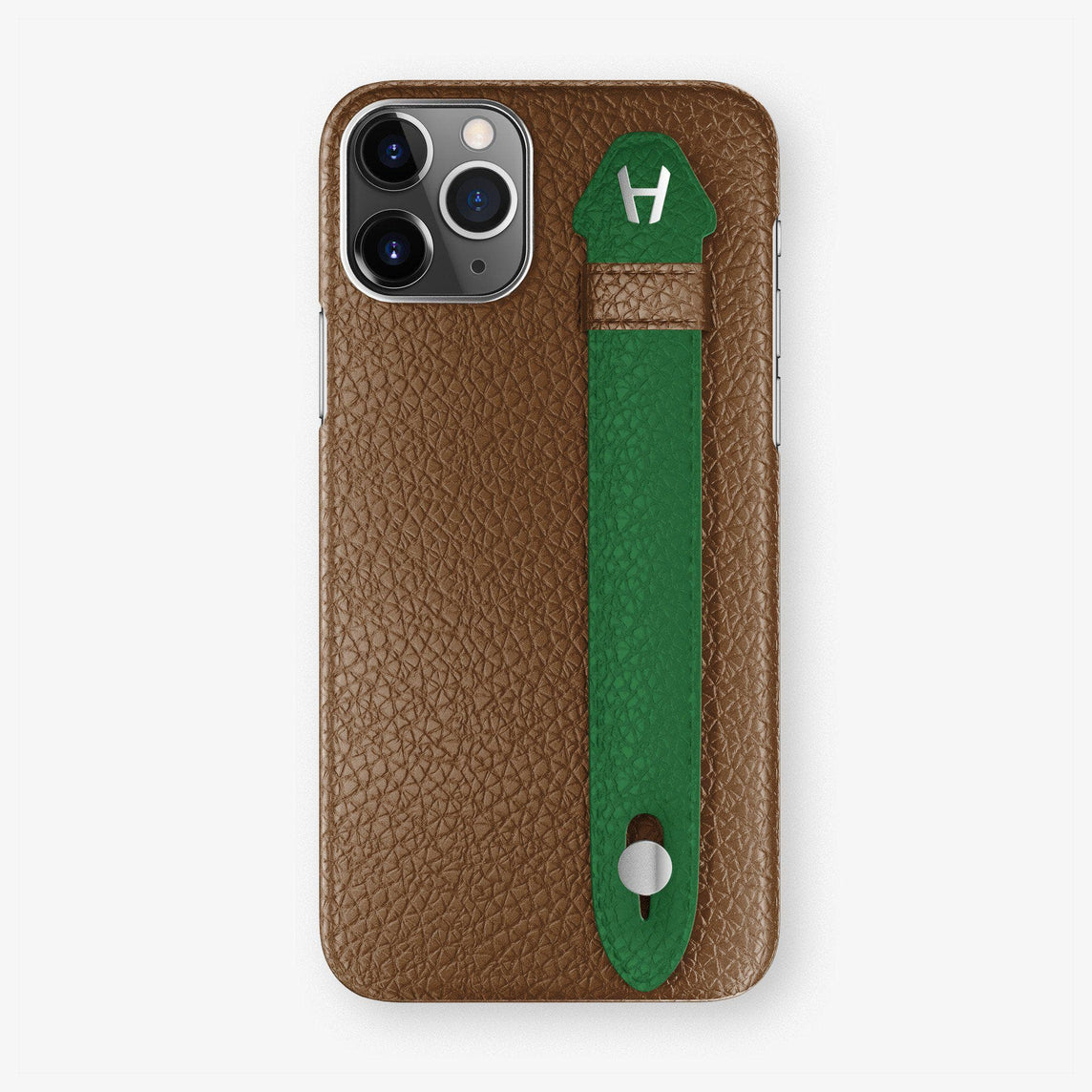 Calfskin Finger Case iPhone 11 Pro Max | Brown/Green - Stainless Steel