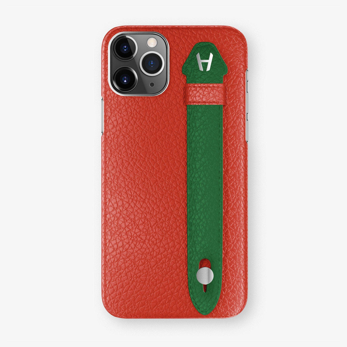 Calfskin Finger Case iPhone 11 Pro Max | Red/Green - Stainless Steel