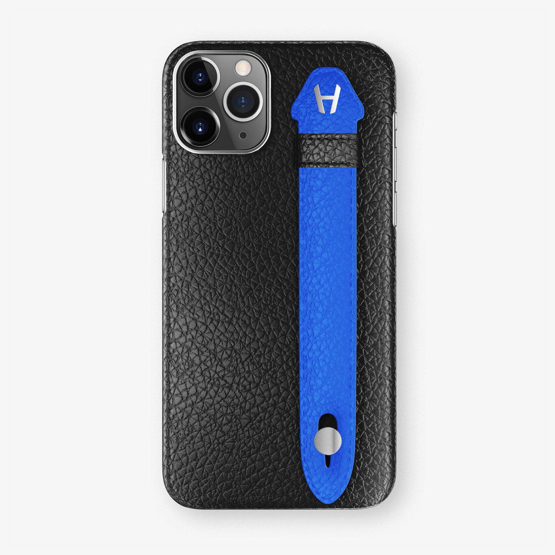 Calfskin Finger Case iPhone 11 Pro Max | Black/Peony Blue - Stainless Steel