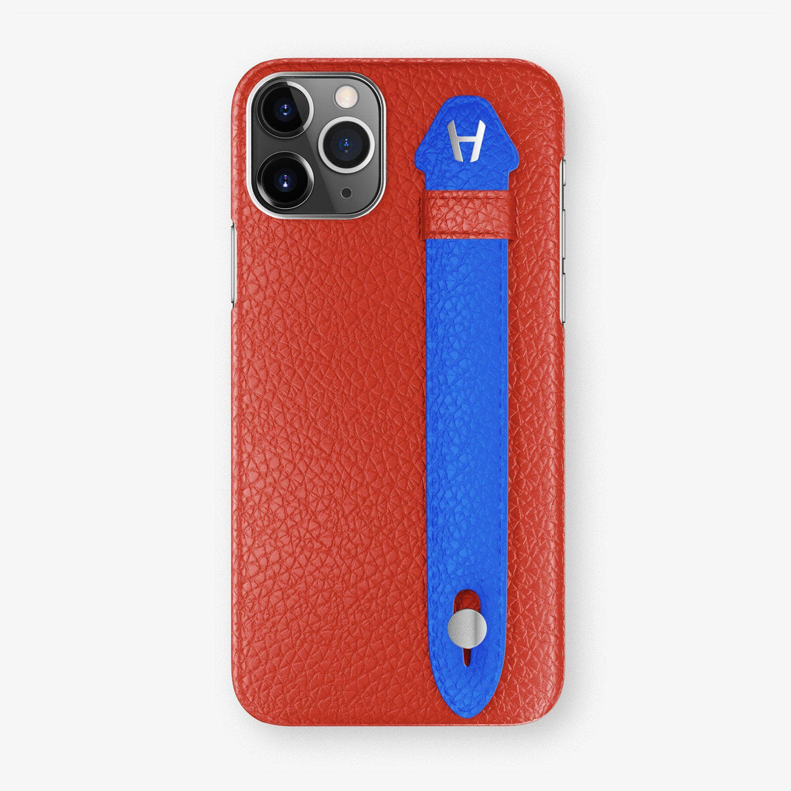 Calfskin Finger Case iPhone 11 Pro | Red/Peony Blue - Stainless Steel