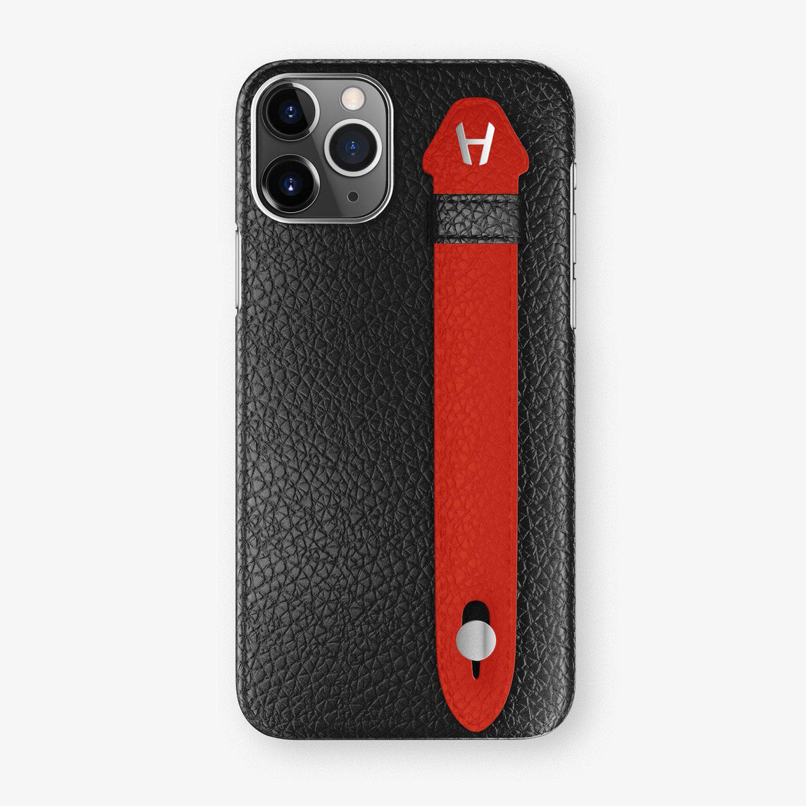 Calfskin Finger Case iPhone 11 | Black/Red - Stainless Steel