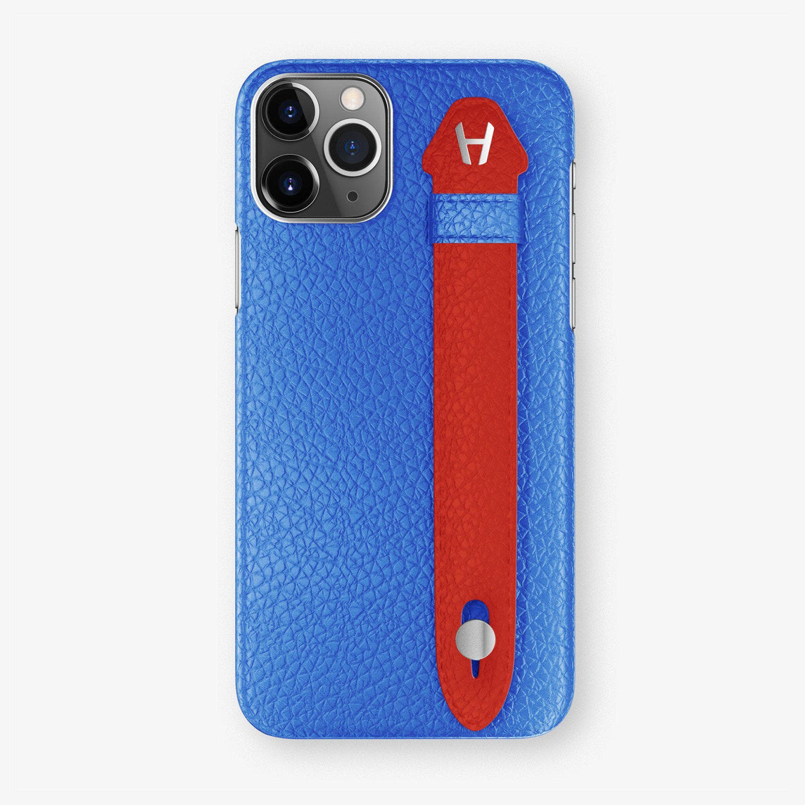 Calfskin Finger Case iPhone 11 Pro | Peony Blue/Red - Stainless Steel
