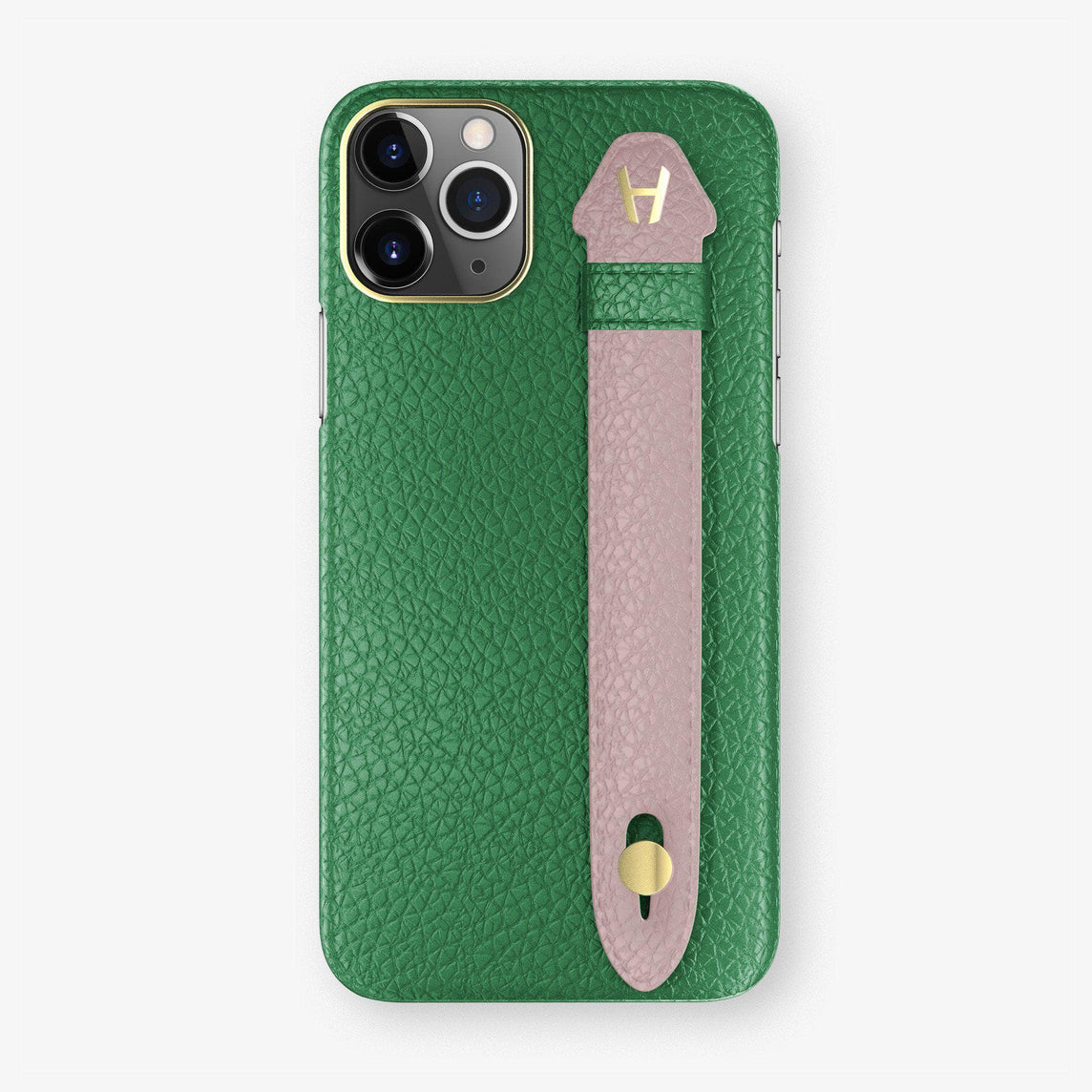 Calfskin Finger Case iPhone 11 Pro Max | Green/Pink - Yellow Gold