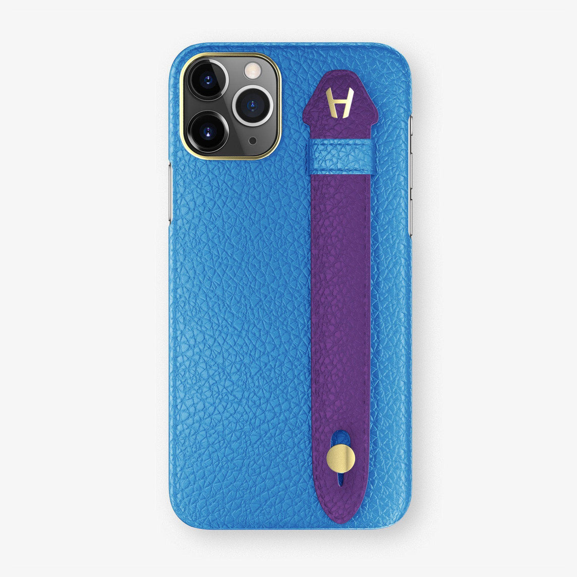 Calfskin Finger Case iPhone 11 Pro Max | Blue Lagoon/Purple - Yellow Gold