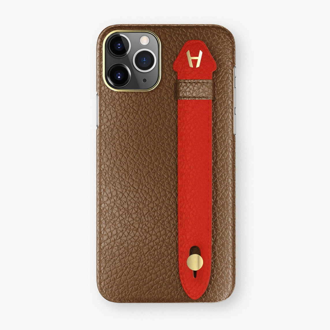 Calfskin Finger Case iPhone 11 | Brown/Red - Yellow Gold