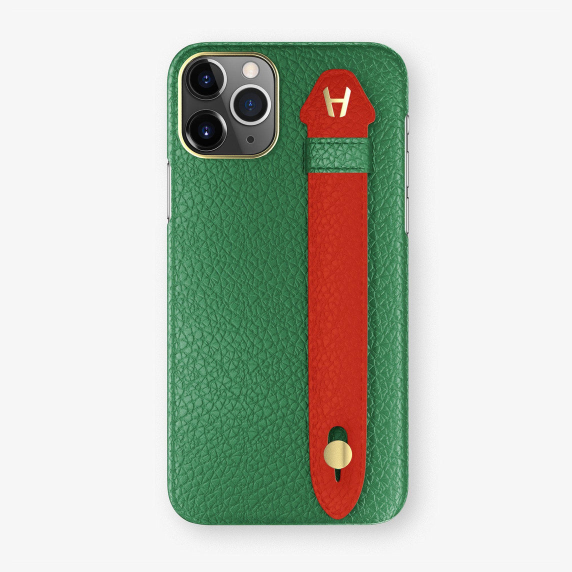 Calfskin Finger Case iPhone 11 Pro Max | Green/Red - Yellow Gold