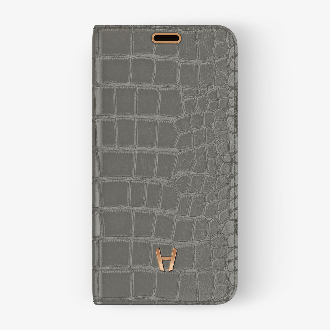 Alligator Folio Case iPhone 11 Pro | Pearl Grey - Rose Gold