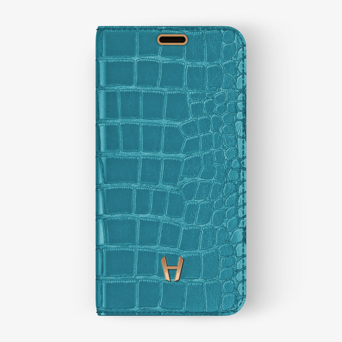 Alligator Folio Case iPhone 11 Pro | Blue Teal - Rose Gold