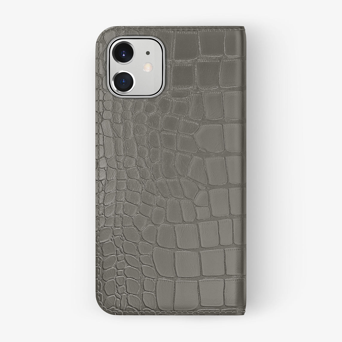 Alligator Folio Case iPhone 11 | Pearl Grey - Stainless Steel