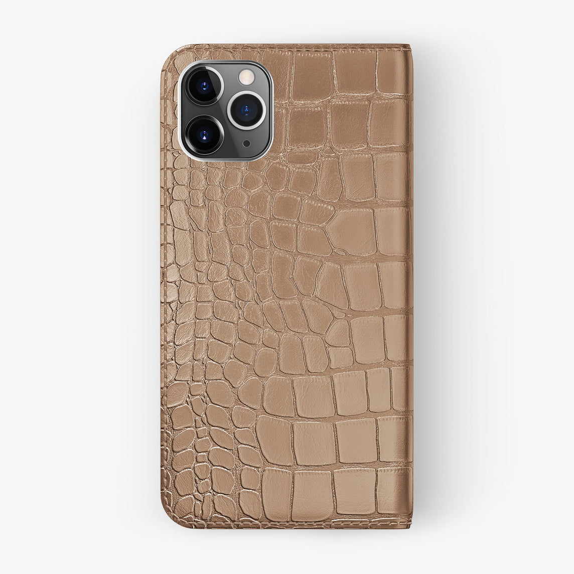 Alligator Folio Case iPhone 11 Pro Max | Latte - Stainless Steel