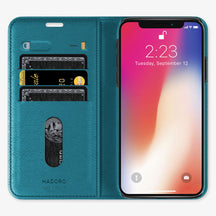 Alligator Folio Case iPhone 11 Pro | Blue Teal - Stainless Steel
