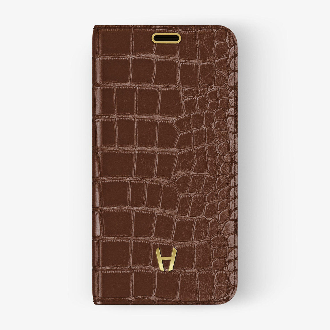 Alligator Folio Case iPhone 11 Pro | Brown Chocolate - Yellow Gold