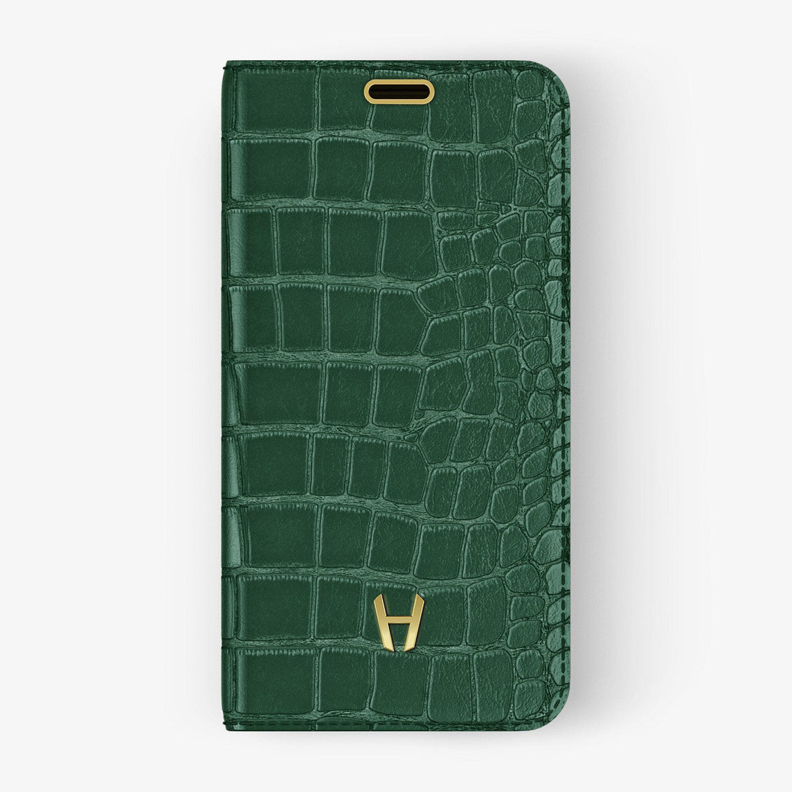 Alligator Folio Case iPhone 11 Pro | Green - Yellow Gold