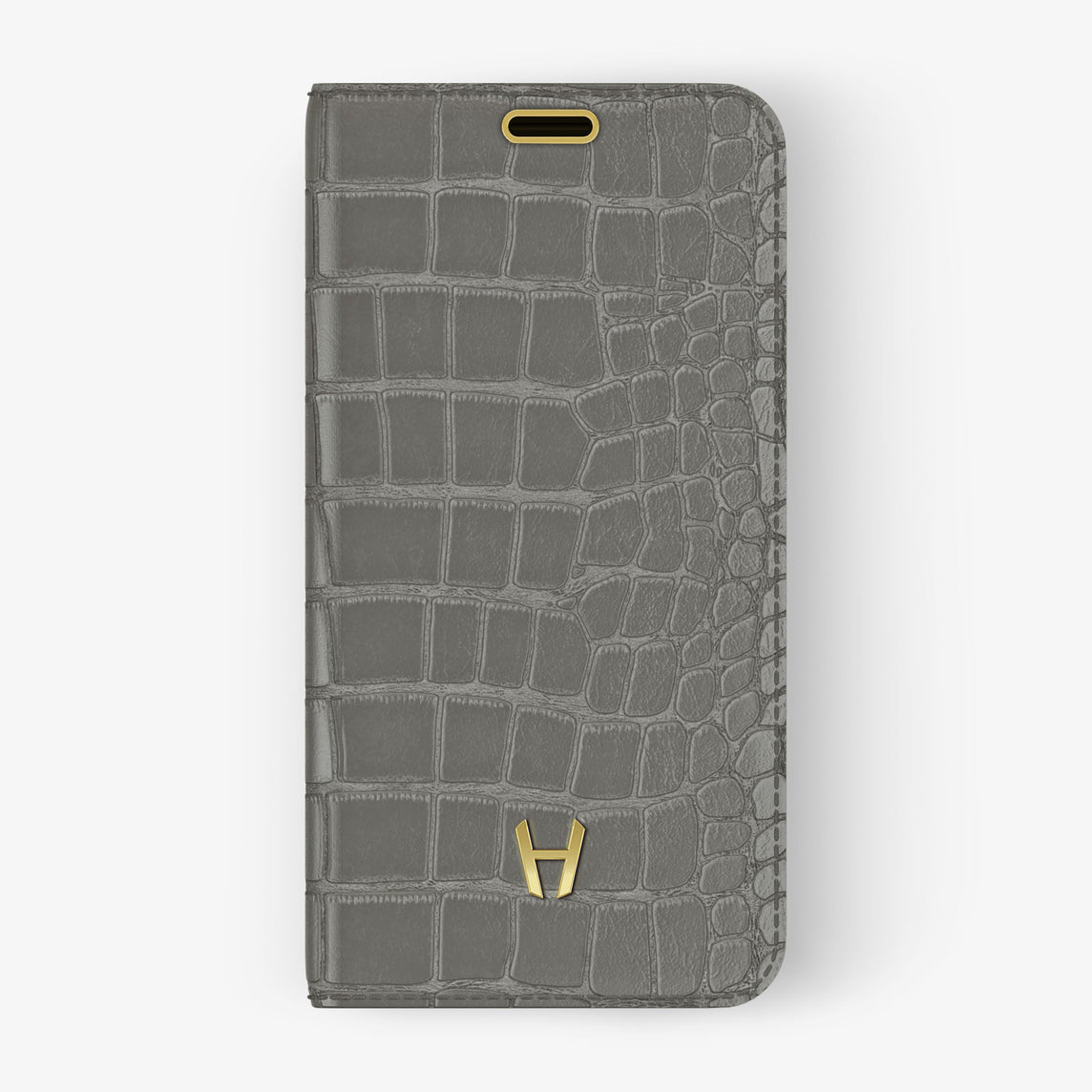 Alligator Folio Case iPhone 11 Pro | Pearl Grey - Yellow Gold