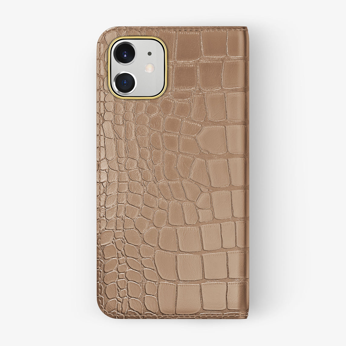 Alligator Folio Case iPhone 11 | Latte - Yellow Gold