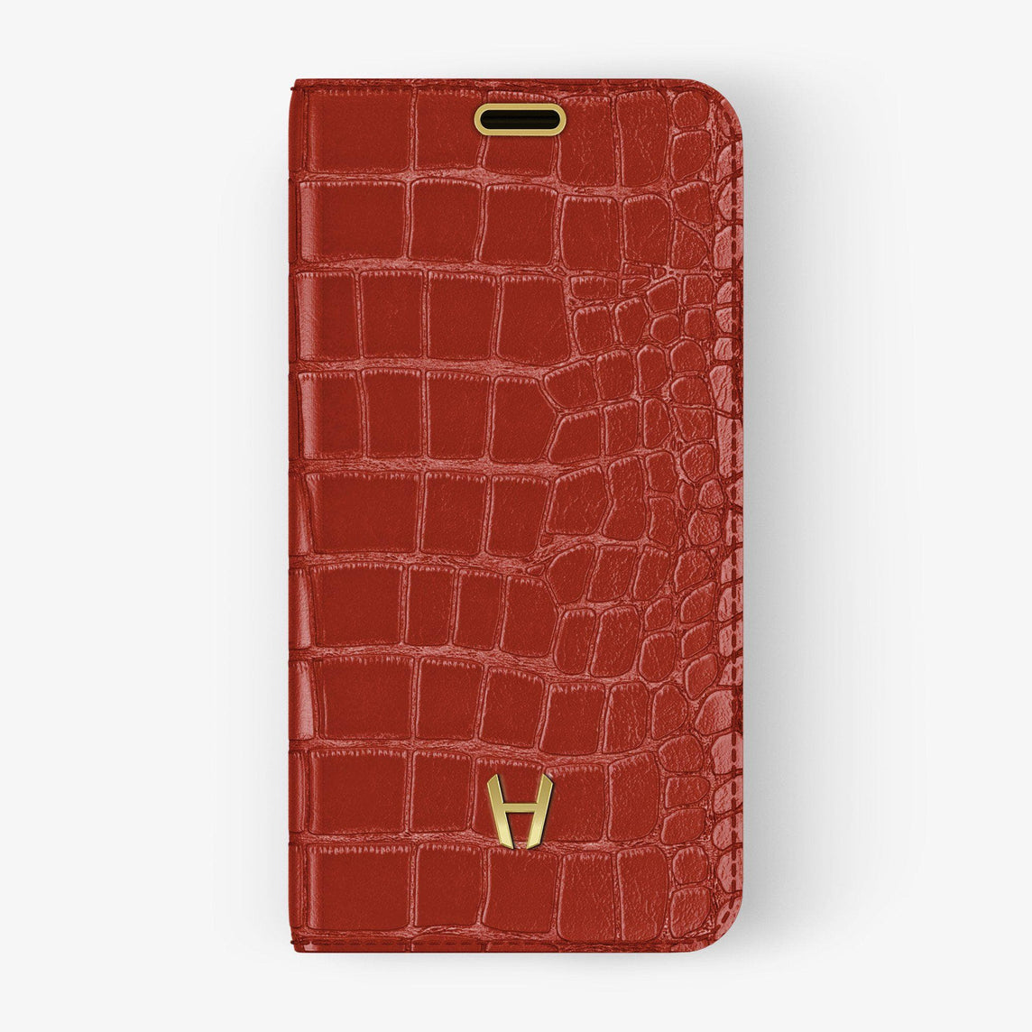 Alligator Folio Case iPhone 11 Pro Max | Red Lipstick - Yellow Gold