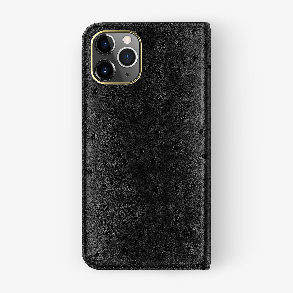 Ostrich Folio Case iPhone 11 Pro | Black - Yellow Gold