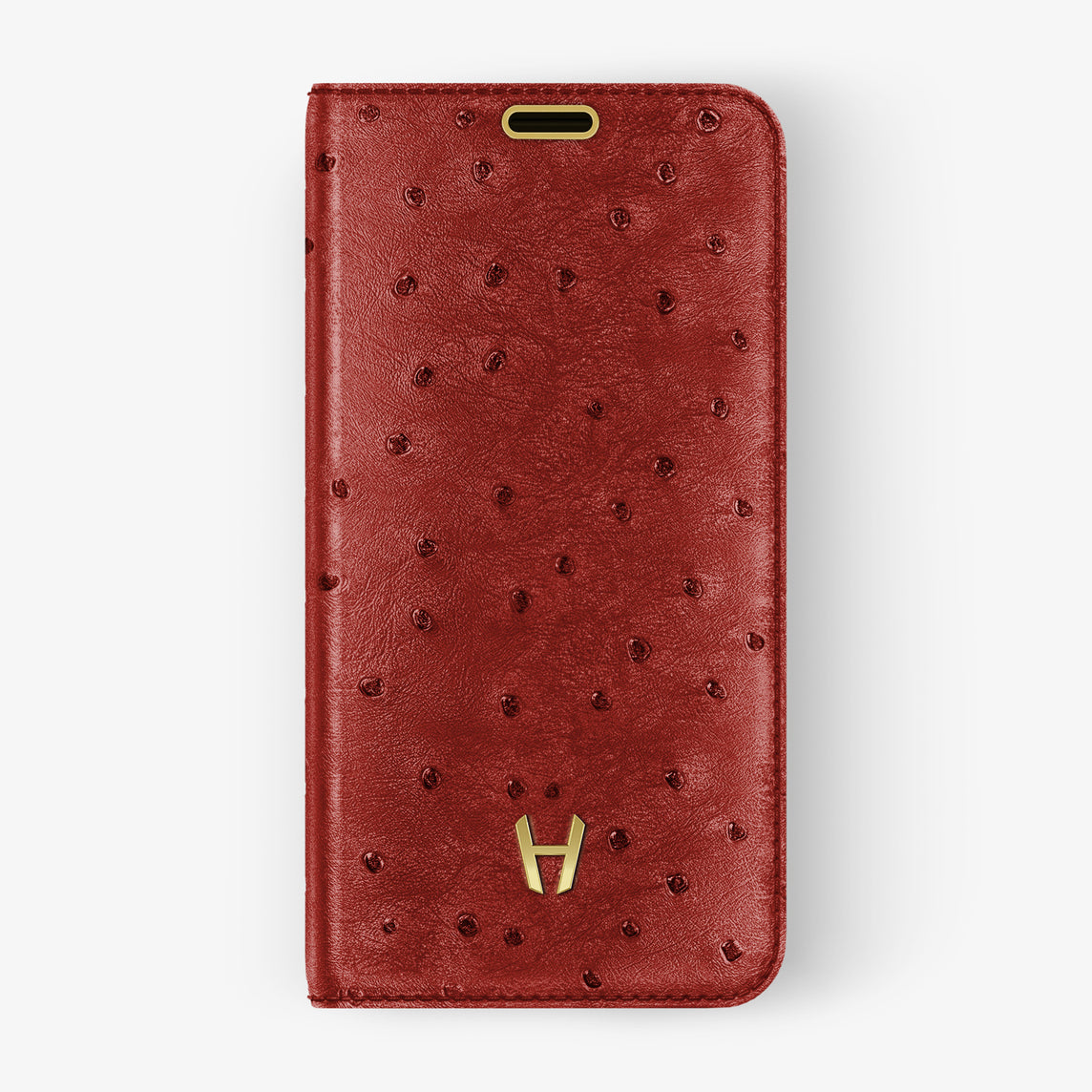 Ostrich Folio Case iPhone 11 Pro | Red - Yellow Gold