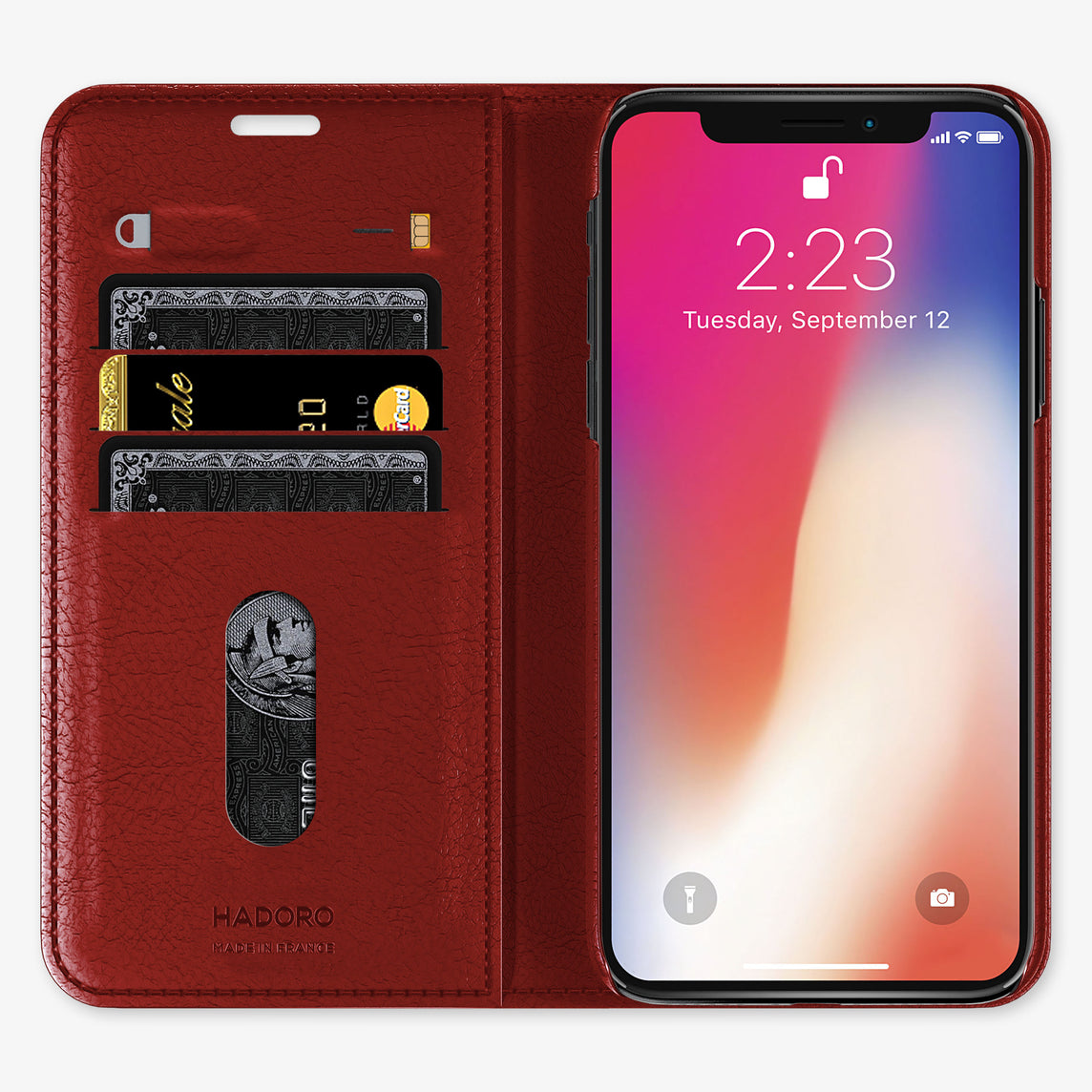 Ostrich Folio Case iPhone 11 Pro Max | Red - Yellow Gold