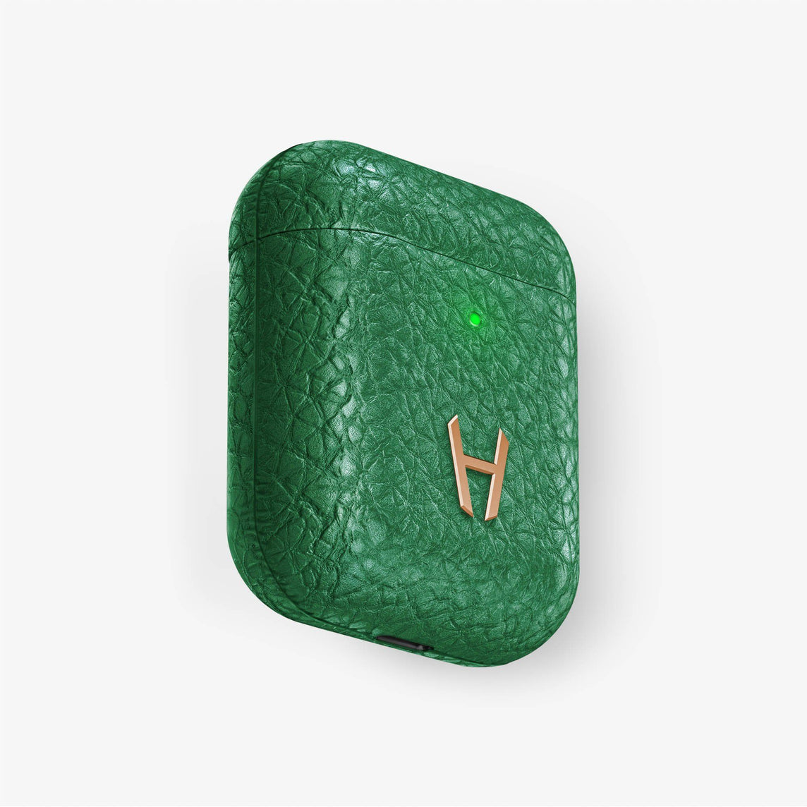 Calfskin [Hadoro AirPods] [model:airpods-with-w-charging] [colour:green] [finishing:rose-gold] without-personalization