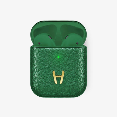 Calfskin [Hadoro AirPods] [model:airpods-with-w-charging] [colour:green] [finishing:yellow-gold] without-personalization