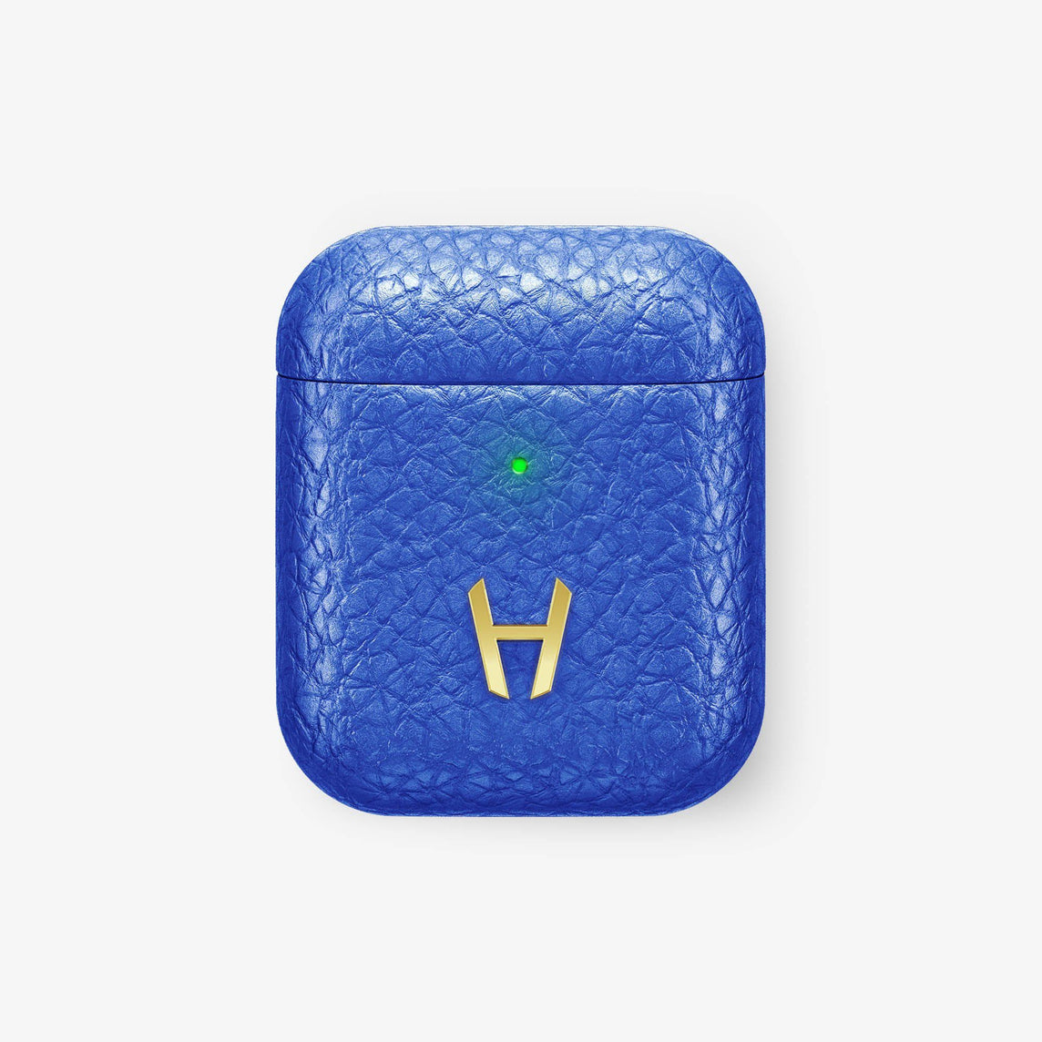Calfskin [Hadoro AirPods] [model:airpods-with-w-charging] [colour:peony-blue] [finishing:yellow-gold] without-personalization