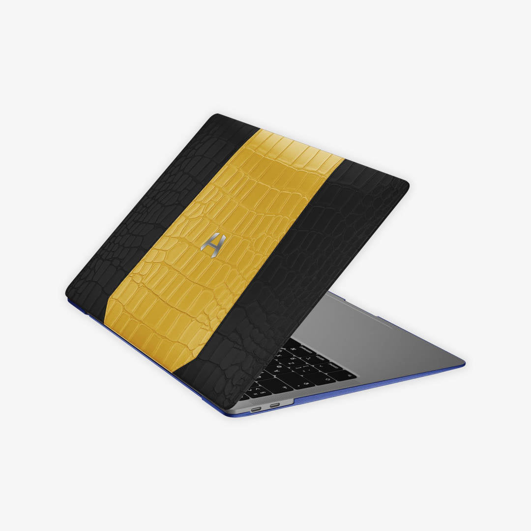 Double Colored Alligator MacBook Case for MacBook 13'' Air | Phantom Black/Yellow - Stainless Steel