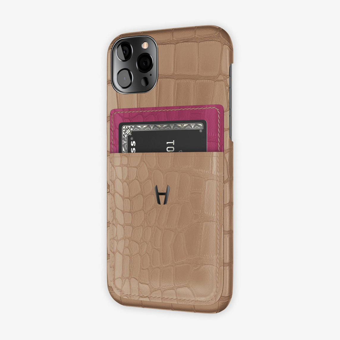 Alligator Pocket Case iPhone 12 & 12 Pro | Latte/Pink Fuchsia - Black