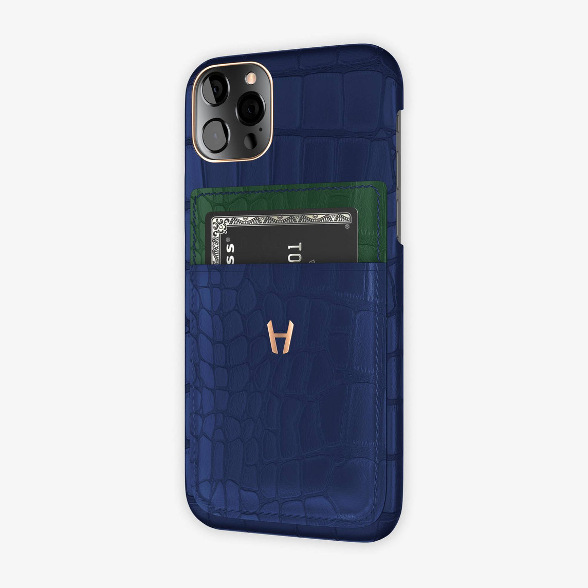 iPhone 12 & 12 Pro | Navy Blue/Green - Rose Gold