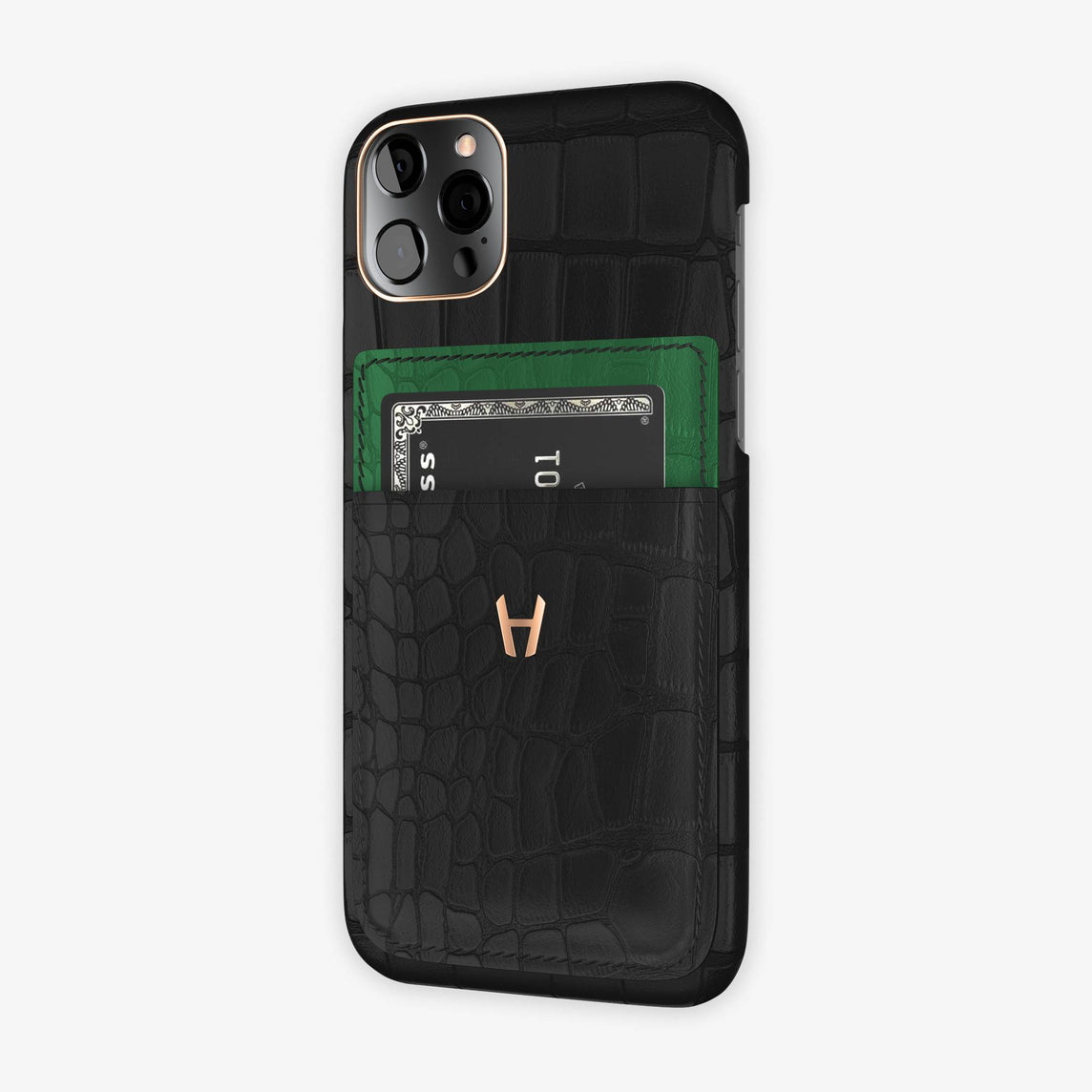 Alligator Pocket Case iPhone  12 & 12 Pro | Black/Green Emerald - Rose Gold