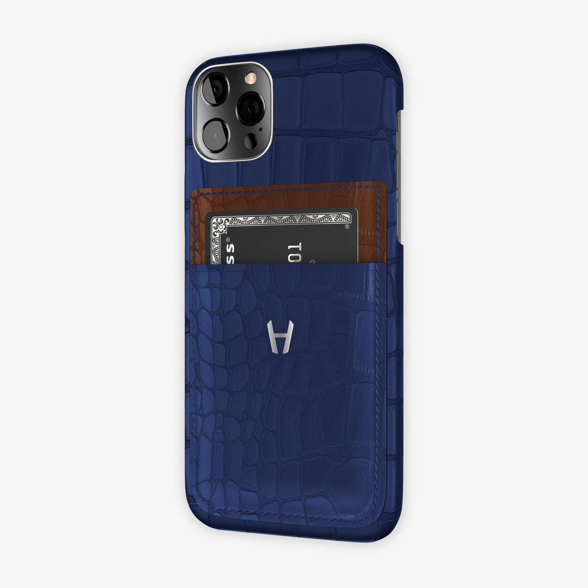 Alligator Pocket Case iPhone 12 & 12 Pro  | Navy Blue/Brown - Stainless Steel