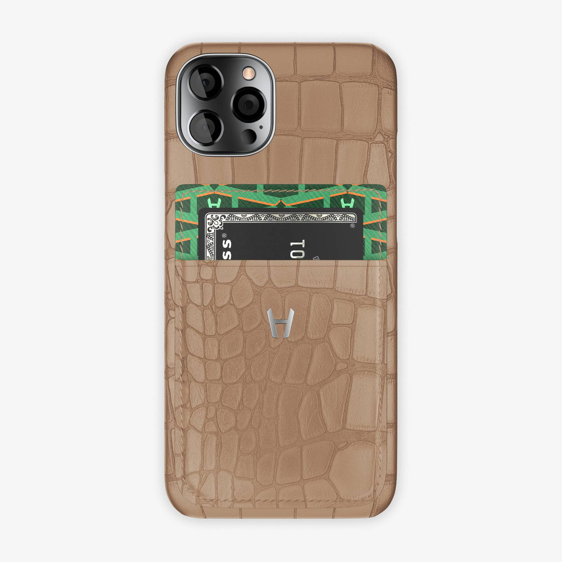Alligator Pocket Case iPhone 12 & 12 Pro | Latte/Green - Stainless Steel