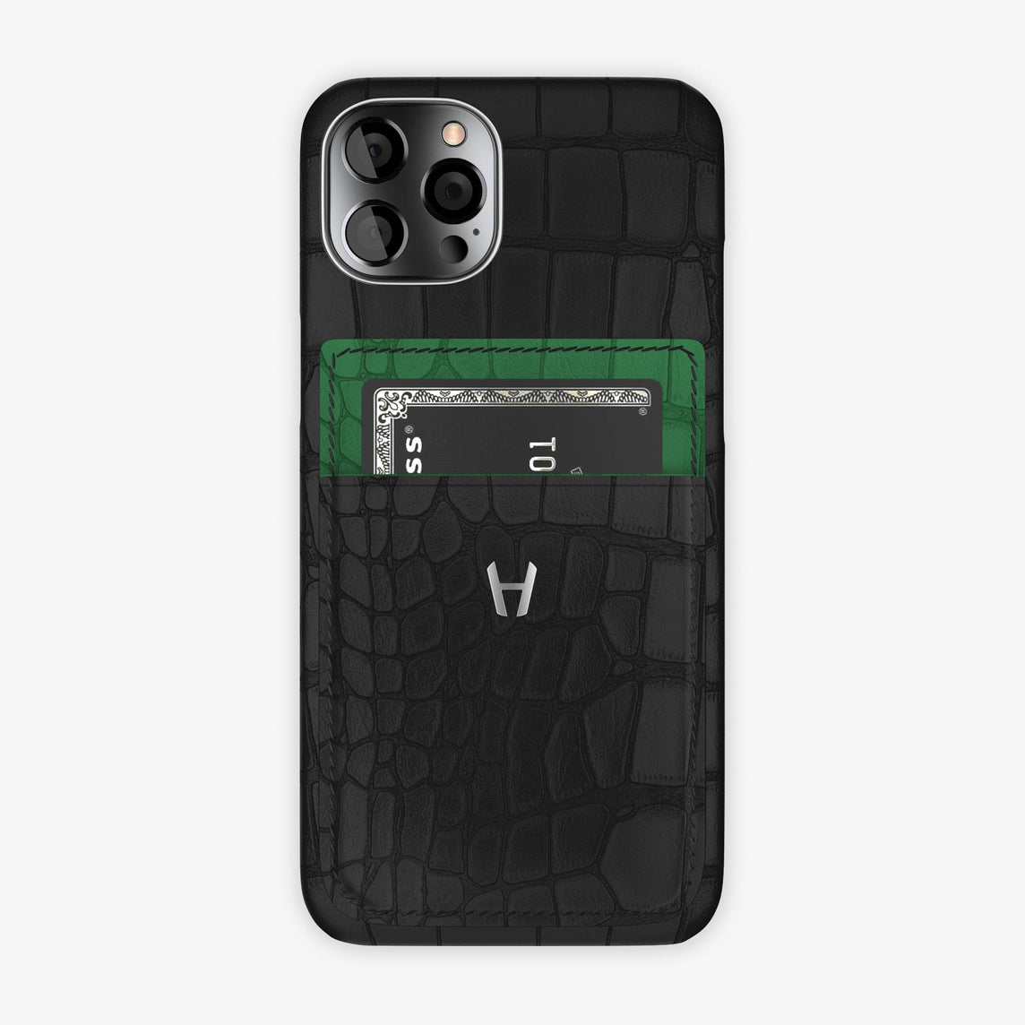 Alligator Pocket Case iPhone  12 & 12 Pro | Black/Green Emerald - Stainless Steel