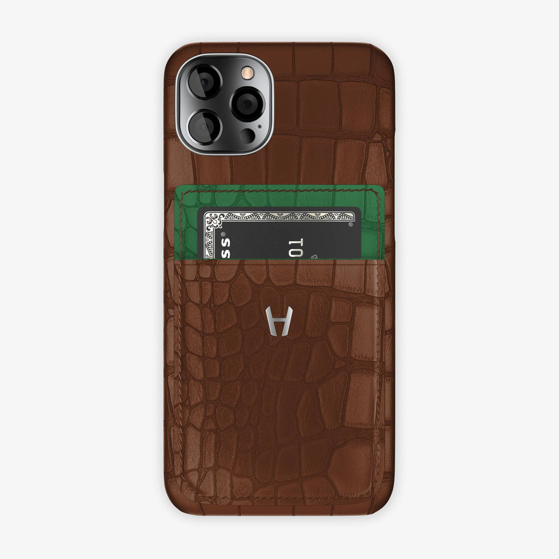Alligator Pocket Case iPhone 12 & 12 Pro | Brown/Green Emerald - Stainless Steel