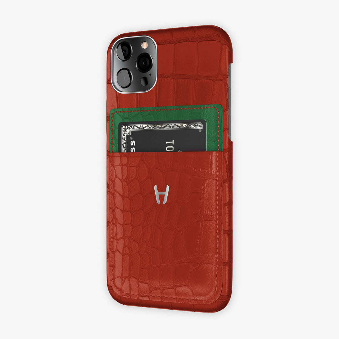 iPhone 12 & 12 Pro | Red/Green Emerald - Stainless Steel