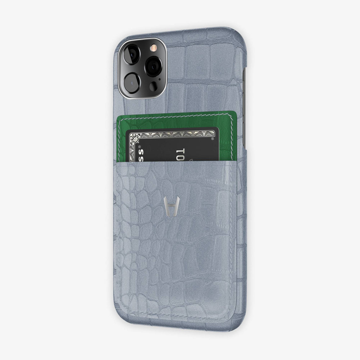 iPhone 12 & 12 Pro | Silver/Green Emerald - Stainless Steel
