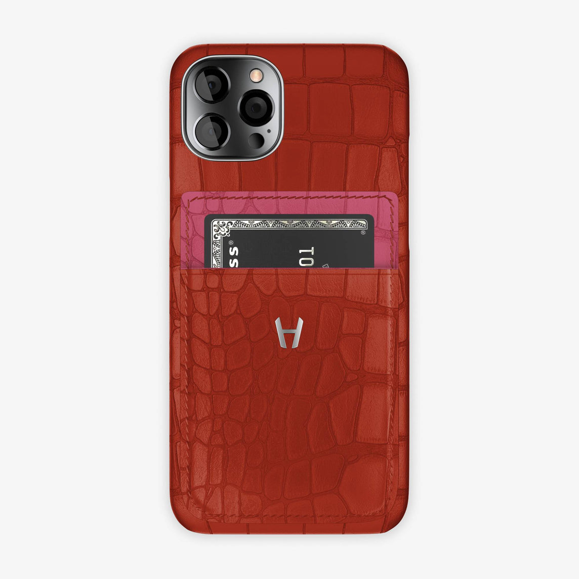 Alligator Pocket Case iPhone 12 & 12 Pro | Red/Pink Girly - Stainless Steel