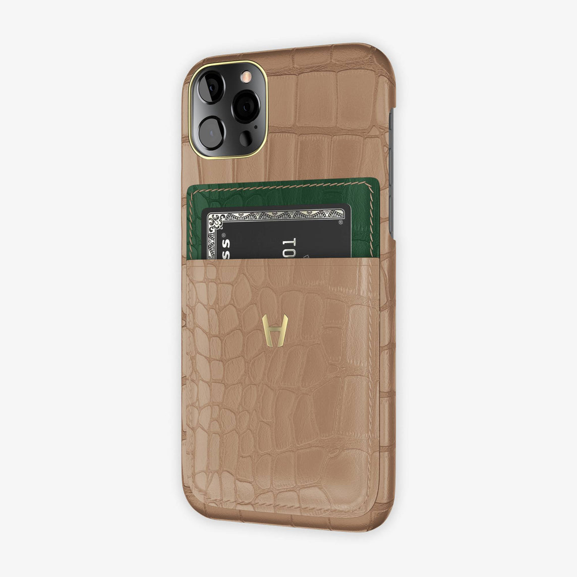 Alligator Pocket Case iPhone  12 & 12 Pro | Latte/Green - Yellow Gold