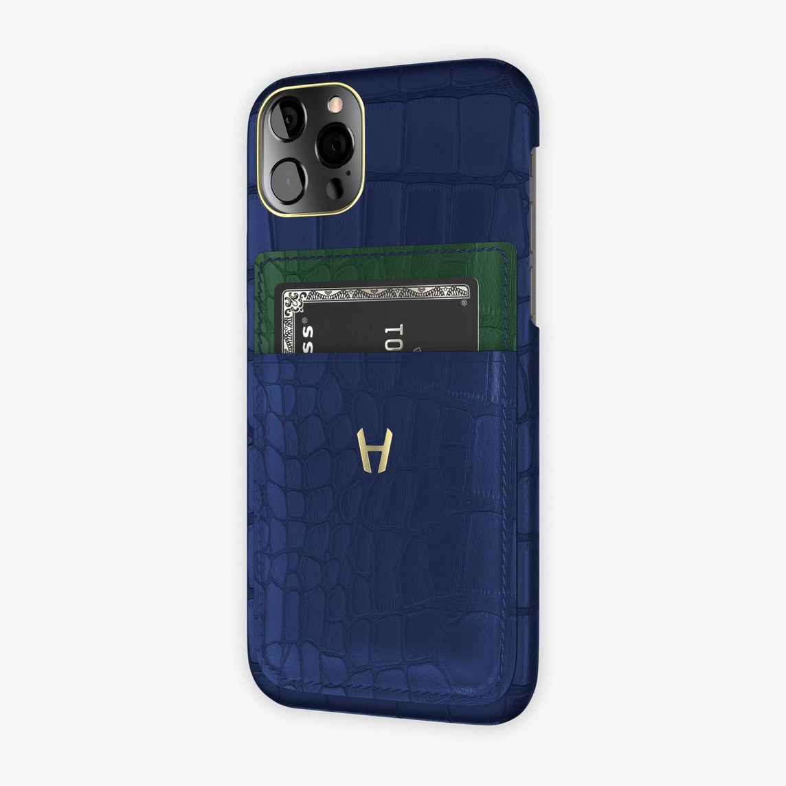 Alligator Pocket Case iPhone 12 & 12 Pro | Navy Blue/Green - Yellow Gold