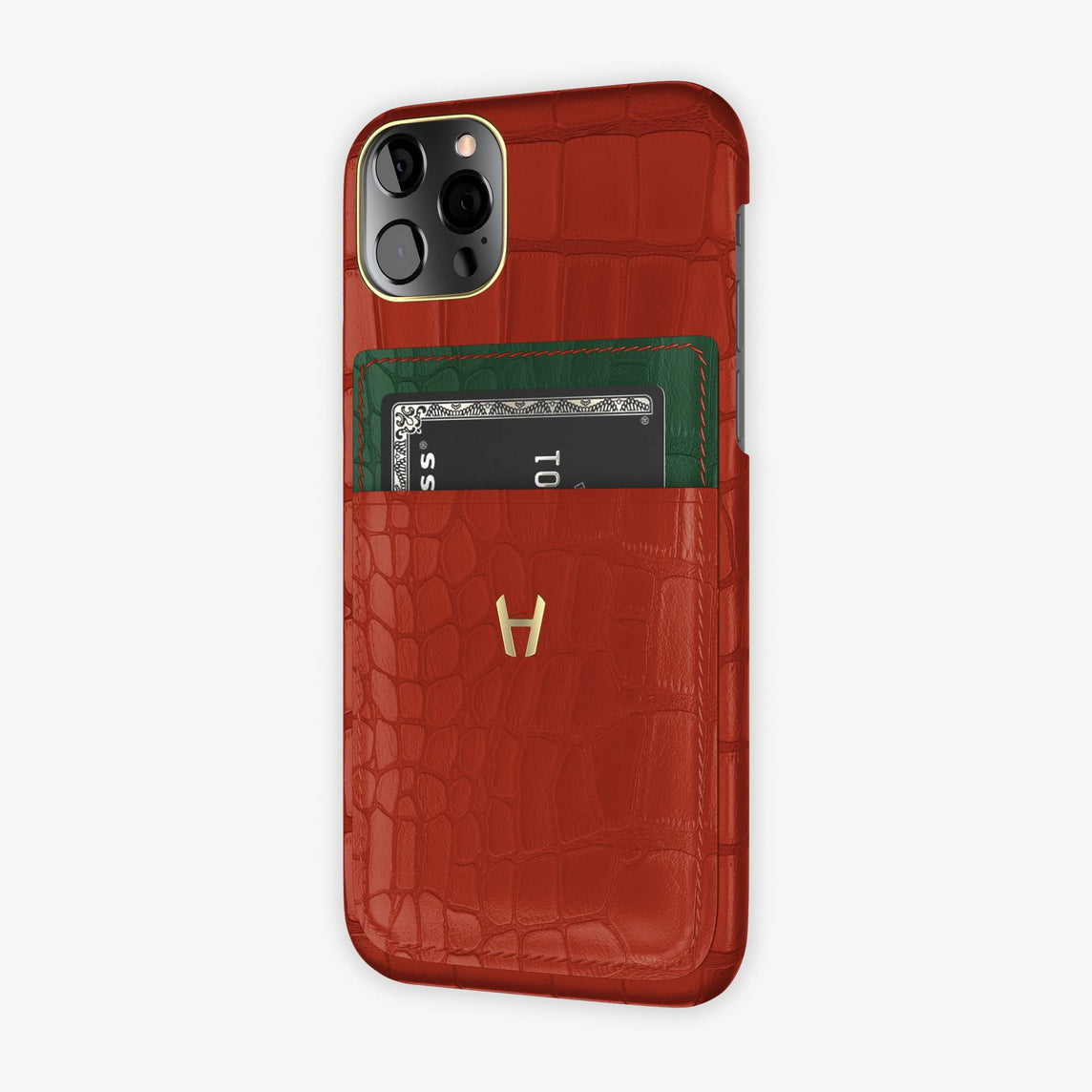 Alligator Pocket Case iPhone 12 & 12 Pro | Red/Green - Yellow Gold