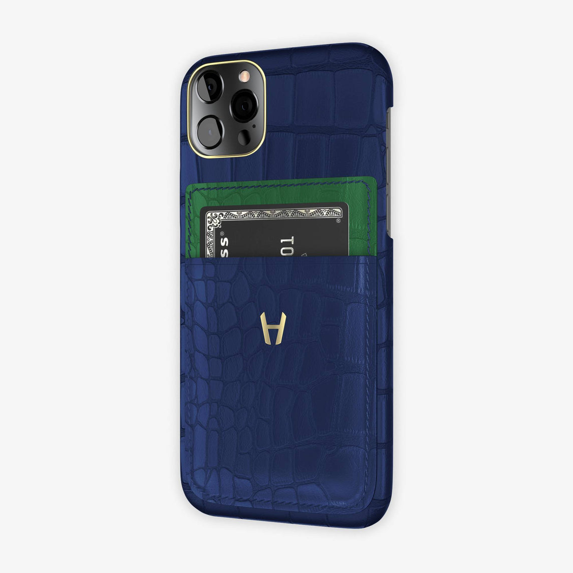 Alligator Pocket Case iPhone 12 & 12 Pro | Navy Blue/Green Emerald - Yellow Gold