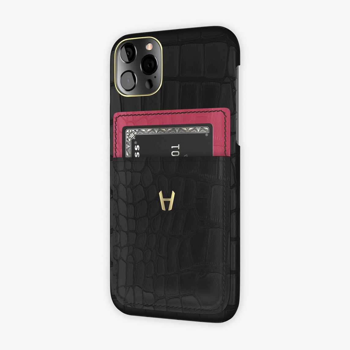 iPhone 12 & 12 Pro | Black/Pink Girly - Yellow Gold