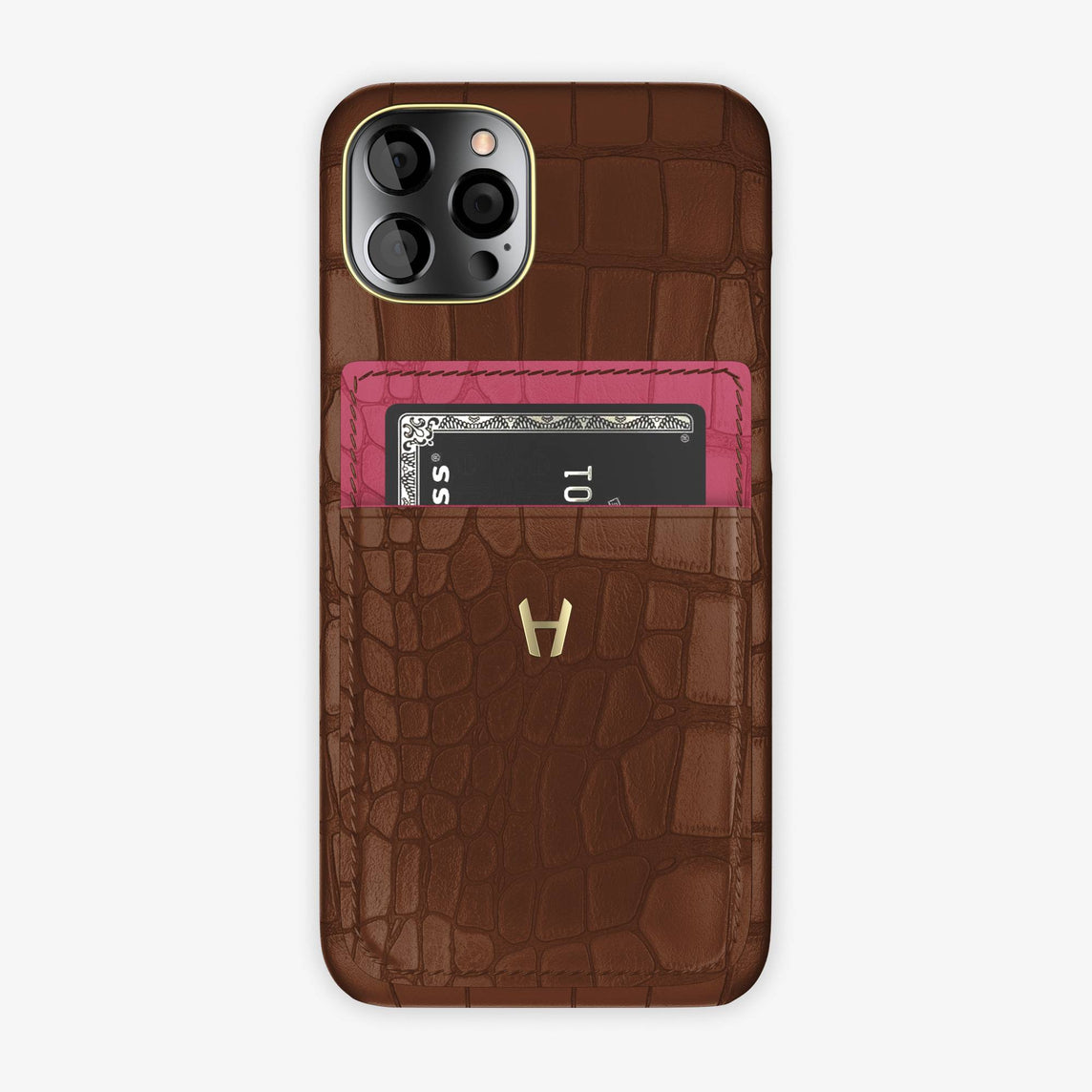 Alligator Pocket Case iPhone 12 & 12 Pro | Brown/Pink Girly - Yellow Gold